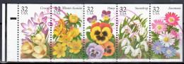 United States 1996 Winter Garden Flowers - Sc # 3025-29 - Mi.2685-89 - Strip Of 5 - Used - Blocks & Sheetlets