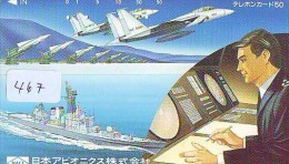 TELECARTE JAPON * MILITAIRY AVION  (467) Flugzeuge * Airplane * Aeroplanos * PHONECARD JAPAN * ARMEE * LEGER VLIEGTUIG - Airplanes