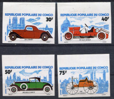 1975-CONGO- VIEUX VOITURES- 4VAL.IMPERF. M.N.H. LUXE !! - Neufs