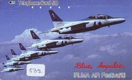 TELECARTE JAPON * MILITAIRY AVION  (532) Flugzeuge * Airplane * Aeroplano * PHONECARD JAPAN * ARMEE * LEGER VLIEGTUIG - Flugzeuge