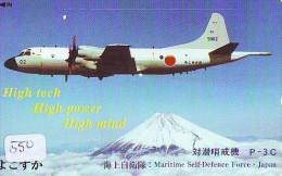 TELECARTE JAPON * MILITAIRY AVION  (550) Flugzeuge * Airplane * Aeroplano * PHONECARD JAPAN * ARMEE * LEGER VLIEGTUIG - Airplanes