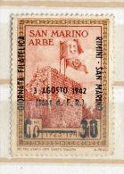 "SAINT MARIN---timbre Neuf  Surchargé ""3 Agosto 1942"" Sans Gomme - Saint-Marin"