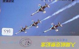 TELECARTE JAPON * MILITAIRY AVION  (570)  Flugzeuge * Airplane * Aeroplano * PHONECARD JAPAN * ARMEE * LEGER VLIEGRUIG - Flugzeuge