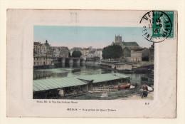 Meaux : Vue Du Quai Thiers, Les Bateaux Lavoirs, Animé, écrite En 1910. - Meaux