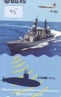 Phonecard JAPAN  War Ship (45) Boat Bateau Warship Military Ship Paquebot Navire De Guerre Boats Navy Leger Armee JAPON - Army