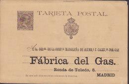 Spain Postal Stationery Ganzsache Entero 10 Cts Alfons XIII. PRIVATE Print FÁBRICA Del GAS, MADRID 189(?) (2 Scans) - Ganzsachen