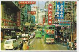 CN.- Hong Kong. Streetrscene. Dubbeldekker. Tram. Busje. . 2 Scans - China (Hongkong)