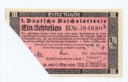 LOTTERIE - 1.Deutsche Reichslotterie 1939, 1 Achtellos - Lotterielose
