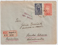 """1920, Registered """" Zagreb """" To CSR  , #5508 - 1919-1929 Königreich Der Serben, Kroaten & Slowenen"""