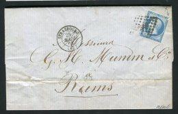 Rare Lettre De Strasbourg Pour Reims ( Mumm ) 1862 Avec Un N° 14B Variété Encoche Blanche - 1849-1876: Periodo Classico