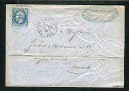 Lettre De Paris Pour Reims 1863 ( Archive Mumm´s ) - Cachet Lettres Bâtons BS2 - 1849-1876: Periodo Classico