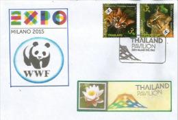 Chat Doré D'Asie. Chat-léopard, Timbres WWF THAÏLANDE Vendus Au Pavillon THAÏLANDE à EXPO MILAN  2015, Sur Lettre WWF - Thaïlande