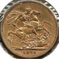 GREAT BRITAIN 1 SOVEREIGN ST GEORGE DRAGON FRONT QV HEAD BACK 1876 AU GOLD VF READ DESCRIPTION CAREFULLY !!! - Autres