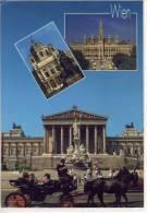 WIEN - Mehrbildkarte M. Parlament, Rathaus, Karlskirche, Fiaker , Großformat - Wien