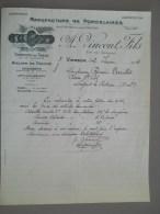 FACTURES  -1934 - VINCENT ET FILS - PORCELAINES - VIERZON - France