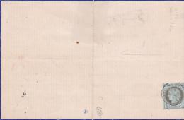 1876 CERES N°50 1c SEUL Sur Imprimé Sous Bande - Quittance Avec Timbre 10c - FRESNAY SUR SARTHE - Lettre Cover France - 1871-1875 Ceres