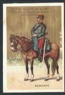 """Chromo Ancien Publicitaire - GRANDE MAISON DE BLANC - Bruxelles - """" Remonte """" - Soldat Cheval  - Fond Doré  // - Non Classés"""