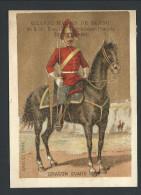 """Chromo Ancien Publicitaire - GRANDE MAISON DE BLANC - Bruxelles - """" Dragon Guard """" - Soldat Cheval  - Fond Doré  // - Zonder Classificatie"""