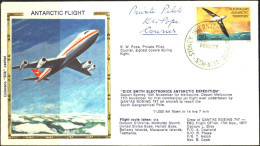 ANTARCTIC FLIGHT-BIRDS-K W POPE-PRIVATE PILOT-AUTOGRAPHED-SILK CACHET COVER-AAT-1978-RARE-BX1-42 - Polare Flüge