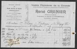 Facture 1912 René GRENIER Pépiniériste Barbezieux-Gauriac Gironde (33) - Agriculture