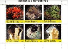 Guine-Bissau MNH 2004 Mini Sheet Of 6 Different Minerals And Meteorites - Minéraux