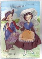 Dansons La Limousine - Carte Brodée Et En Tissu - Limousin - Escriva - Costumes