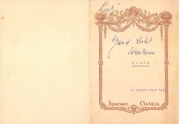 """04079 """"SPUMANTI GANCIA - MENU DECORATO - 12 AGOSTO 1930 VIII- LOSI - GRAND HOTEL ANDEZENO"""" ORIGINALE - Menu"""