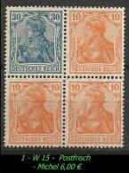 Deutsches Reich - Zusammendruck - Mi. Nr. W 15 - Postfrisch. - Zusammendrucke