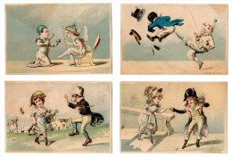 Lot 4 Chromos Américaines, Etats-Unis, USA, Clown, Noir, Soulier - Chromo