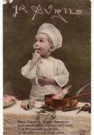 N° 4 : FETES VOEUX : 1er Avril : Petit Cuisinier , Menu Poissons Rouget Rascasse ( 2 Scans ) - 1er Avril - Poisson D'avril