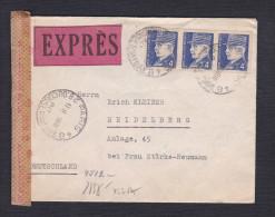Lettre Expres 3 Petain 4f 522 De Paris Conservatoire Vers Heidelberg Allemagne Ouvert Par Censure Annee 1943 - Marcophilie (Lettres)