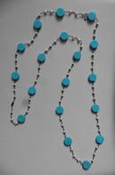 Neuf - Collier Sautoir En Perles Plates Rondes Turquoise Véritable Et Petites Perles D'eau Douce - Chomel - Collane/Catenine