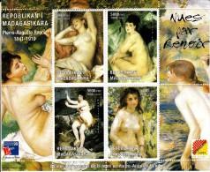 Madagascar MNH 1999 Mini Sheet Of 4 Paintings - Nudes By Renoir Philex France 99 - Expositions Philatéliques