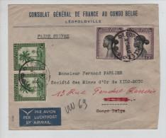 Belgisch Congo Belge TP 256(2)-254(2) S/L.Avion En Service Intérieur C.Léo.v.Watsa C.d'arrivée PR2948 - Poste Aérienne: Lettres