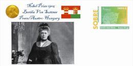 Spain 2013 - Nobel Prize 1905 Peace - Bertha Von Suttner/Austro-Hungarian Empire Special Prepaid Cover - Premio Nobel