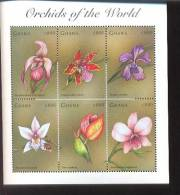 GHANA   2041 ;MINT NEVER HINGED MINI SHEETS OF FLOWERS - ORCHIDS - Plants