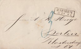 Preussen Brief R2 Barmen 17.2. Gel. Nach Berlin - Preussen