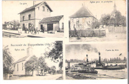 CPA BAS RHIN 67 Souvenir De Roppenheim Alsace La Gare, Les Eglises ,le Rhin - Frankreich