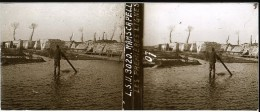 Photo Plaque De Verre / Vue Stéréo / WW1 Guerre 14/18 Nieuport / Nieuwpoort Ramskapelle (Belgique) Les Premières Lignes - Diapositivas De Vidrio