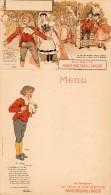 55Nja   Menu Cartonné Neuf Avec Carte Postale Detachable Au Dessus Art Nouveau Deco Anisette Marie Brizard - Menu