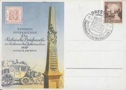 DR Sonderkarte Dresden Sonderschau 1938 EF Minr.665 SST Dresden 18.9.38 - Briefe U. Dokumente