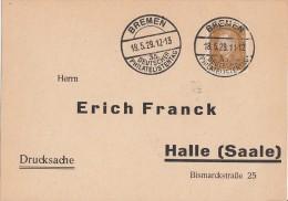 DR Karte EF Minr.410 SST Bremen 18.5.29  35.dt. Philatelistentag - Deutschland