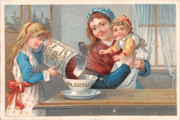 "04099 ""FABRIQUE DE CHOCOLAT PH. SUCHARD - NEUCHATEL - SUISSE"" ANIMATO, MAMMA CON BAMBINI,  FIGURINA ORIGINALE - Chocolate"