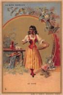 """04103 """"IL CAFFE' - AU BON MARCHE' - MAISON ARISTIDE BOUCICAUT"""" ANIMATO, RAGAZZA,  FIGURINA ORIGINALE - Pubblicitari"""