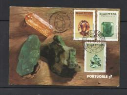 O) 1977 BRAZIL, PRECIOUS STONES - MINERAL, GEMMOLOGY,TOPAZ, EMERALD, SEA , MAXIMUM CARD, TONED - Cartoline Maximum