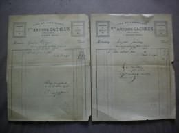 MAING NORD VVE ANTOINE CACHEUX GENIEVRE ET EAU DE VIE LIQUEURS ET SIROPS FACTURES DES 20 7bre ET 25 OCTOBRE 1910 - Factures