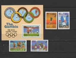 Gambia 1987 Olympic Games Seoul, Football Soccer, Volleyball Etc. Set Of 4 + S/s MNH - Zomer 1988: Seoel