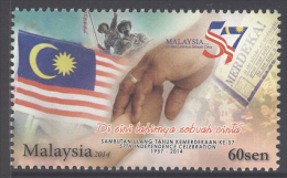 MALAYSIA , 2014 ,MNH, INDEPENDENCE ANNIVERSARY, FLAGS, 1v - Stamps