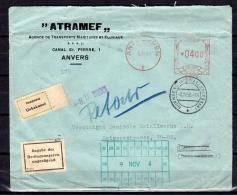 1956 ATRAMEF > RARE CANCEL  HORNBERG (SCHWARZWALDBAHN) UNBEKANNT!!  & RETURNED  (B45) - Belgium