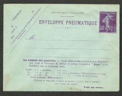 Entier Postal ( 010 ) 30 C Violet  Semeuse. Enveloppe  Pneumatique Neuve - Entiers Postaux